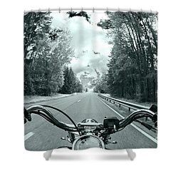 Blue Harley Shower Curtain by Micah May