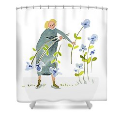 Shower Curtain featuring the painting Blue Harvest by Leanne WILKES