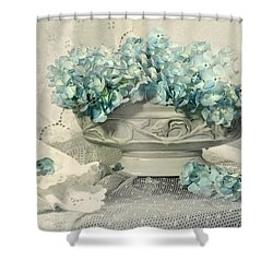 Blue Heart Shower Curtain by Diana Angstadt