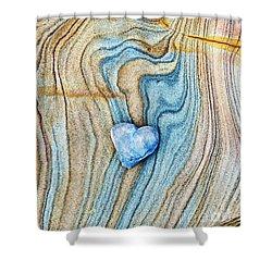Blue Heart Stone Shower Curtain