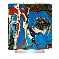 Shower Curtain featuring the painting Blue by Helen Syron