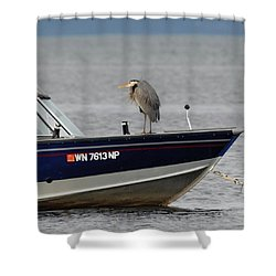 Blue Heron Boat Ride Shower Curtain