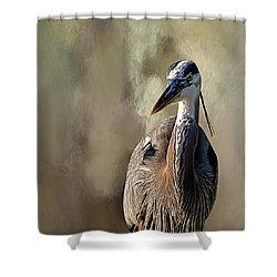Blue Heron Shower Curtain by Cyndy Doty