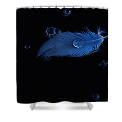 Blue Heron Feather Shower Curtain