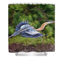 Shower Curtain featuring the photograph Blue Heron Flight by Shari Jardina