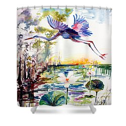 Shower Curtain featuring the painting Blue Heron Glides Over Lotus Flowers by Ginette Callaway