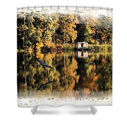 Blue Heron Shower Curtain