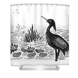 Crowned Night Heron Lily Pond Paradise In Ink D1 Shower Curtain