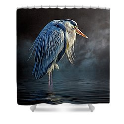 Blue Heron Moon Shower Curtain
