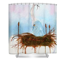 Blue Heron Nesting Shower Curtain