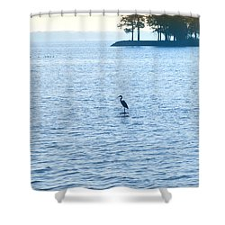 Blue Heron On The Chesapeake Shower Curtain by Bill Cannon