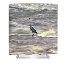 Blue Heron On The Grand River Shower Curtain