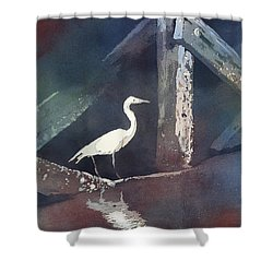 Shower Curtain featuring the painting Blue Heron- Outer Banks by Ryan Fox