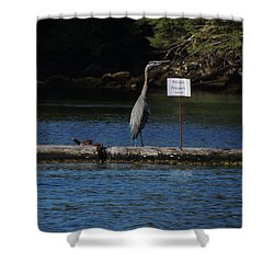 Blue Heron Private Property Shower Curtain