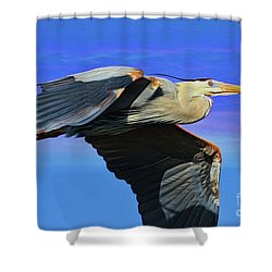 Shower Curtain featuring the painting Blue Heron Series Fly by Deborah Benoit