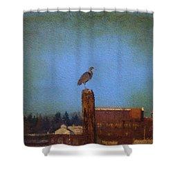 Blue Heron Sky Painted Shower Curtain