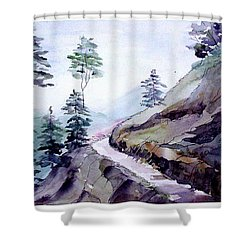 Blue Hills Shower Curtain by Anil Nene