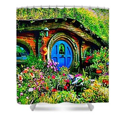 Blue Hobbit Door Shower Curtain by Kathy Kelly