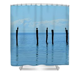 Shower Curtain featuring the photograph Blue Horizon by Stephen Mitchell