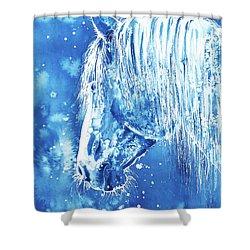 Shower Curtain featuring the painting Blue Horse by Zaira Dzhaubaeva