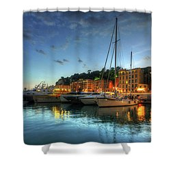 Blue Hour At Port Nice 2.0 Shower Curtain by Yhun Suarez