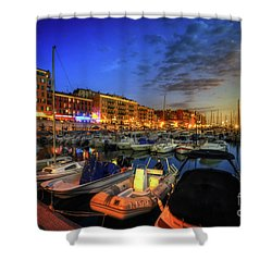 Blue Hour At Port Nice 1.0 Shower Curtain by Yhun Suarez