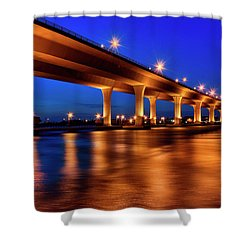 Blue Hour At Roosevelt Bridge In Stuart Florida  Shower Curtain by Justin Kelefas