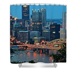Blue Hour In Pittsburgh Shower Curtain