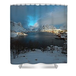 Shower Curtain featuring the photograph Blue Hour Over Reine by Dubi Roman