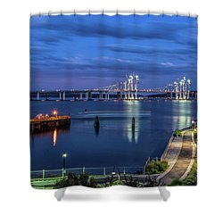Blue Hour Over The Hudson Shower Curtain by Jeffrey Friedkin