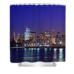 Blue Hour Panorama New York World Trade Center With Freedom Tower From Liberty State Park Shower Curtain