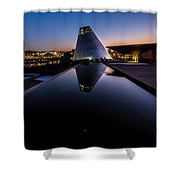 Blue Hour Reflections On Glass Shower Curtain