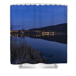 Blue Hour Retreat Meadows Shower Curtain by Tom Singleton