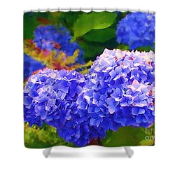 Blue Hydrangea Shower Curtain