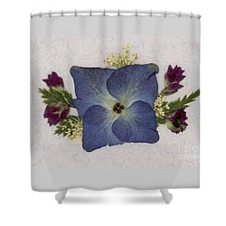Blue Hydrangea Pressed Floral Design Shower Curtain