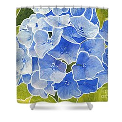 Blue Hydrangea Stained Glass Look Shower Curtain