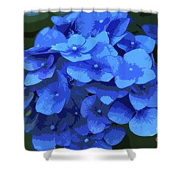 Blue Hydrangea Stylized Shower Curtain