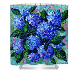 Blue Hydrangeas - Abstract Floral Composition Shower Curtain