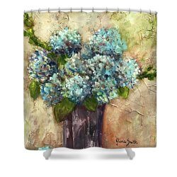 Blue Hydrangeas Shower Curtain