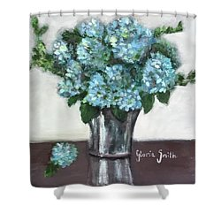 Blue Hydrangea's In Silver Vase Shower Curtain
