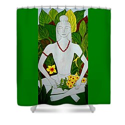 Shower Curtain featuring the painting Blue Idol by Stephanie Moore