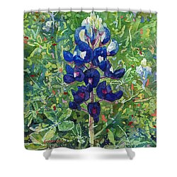 Shower Curtain featuring the painting Blue In Bloom 2 by Hailey E Herrera