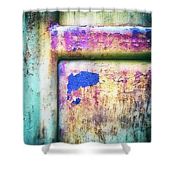 Shower Curtain featuring the photograph Blue In Iron Door by Silvia Ganora