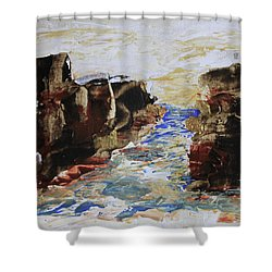 Blue Inlet Abstract Shower Curtain