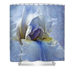 Blue Iris Fog Shower Curtain by Phyllis Denton