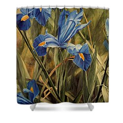 Shower Curtain featuring the painting Blue Iris by Laurie Rohner
