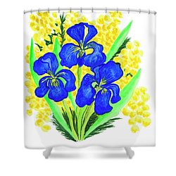 Blue Irises And Mimosa Shower Curtain
