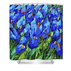 Blue Irises Shower Curtain by Dmitry Spiros