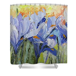 Blue Irises Palette Knife Painting Shower Curtain