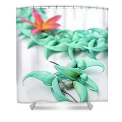 Blue Jade Lei Shower Curtain